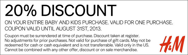 20% off Baby and Kids Apparel