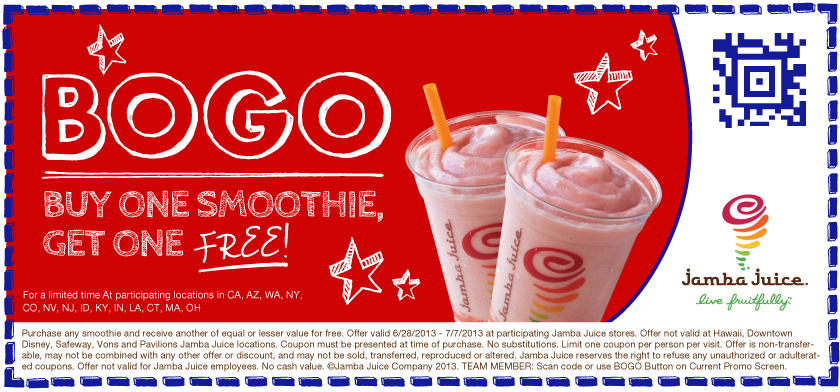 Buy 1 Smoothie, Get 1 Free
