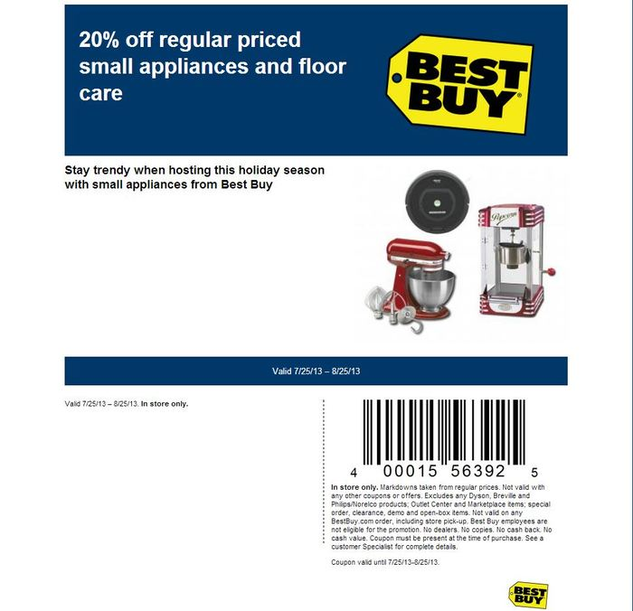 20% off Regular Priced Small Appliances & Floor Care - Printable