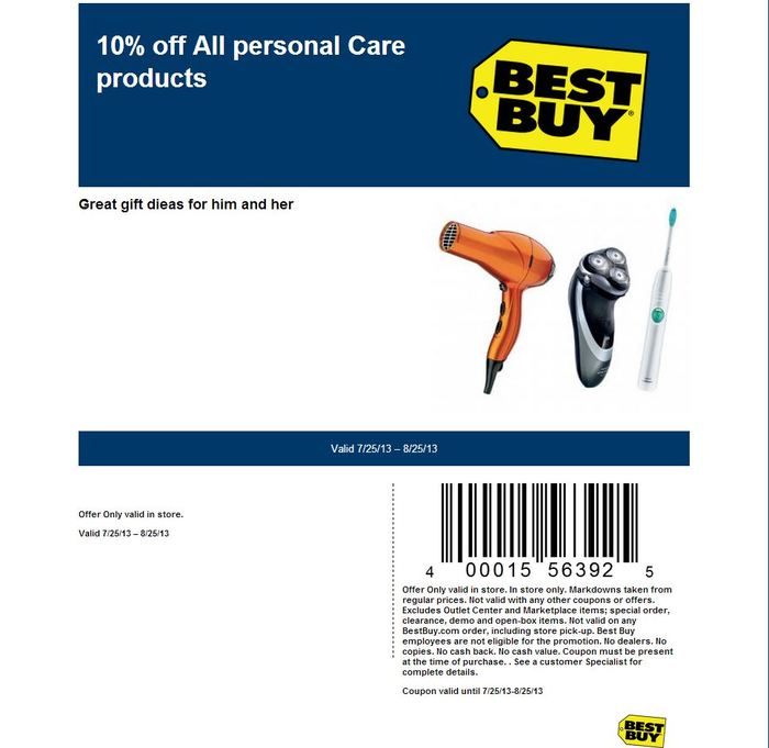 10% off Personal Care Items - Printable