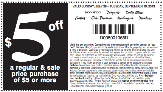 $5 off $5 or More - Printable
