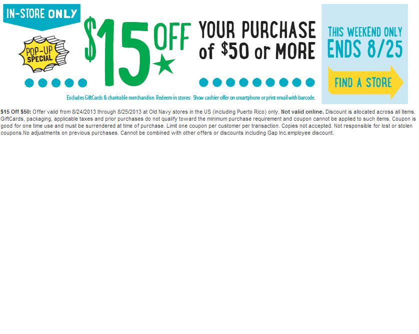 $15 off $50 - Printable