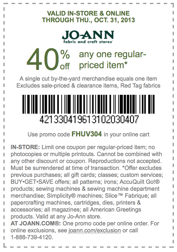 Jo-Ann Printable Coupons: 40% off One Regular Priced Item (Printable)
