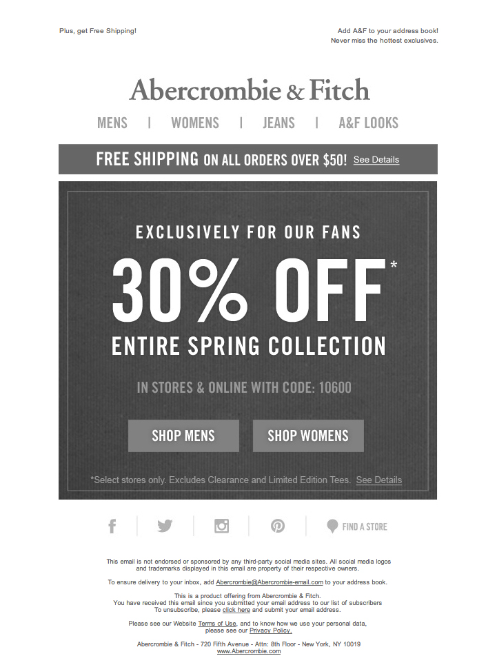 Abercrombie & Fitch Printable Coupons: 30% off Spring Collection (Printable)