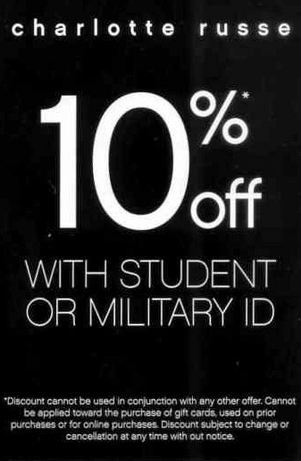 10% off with Student or Military ID (Printable)