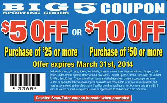 $5 off $25, $10 off $50 (Printable)