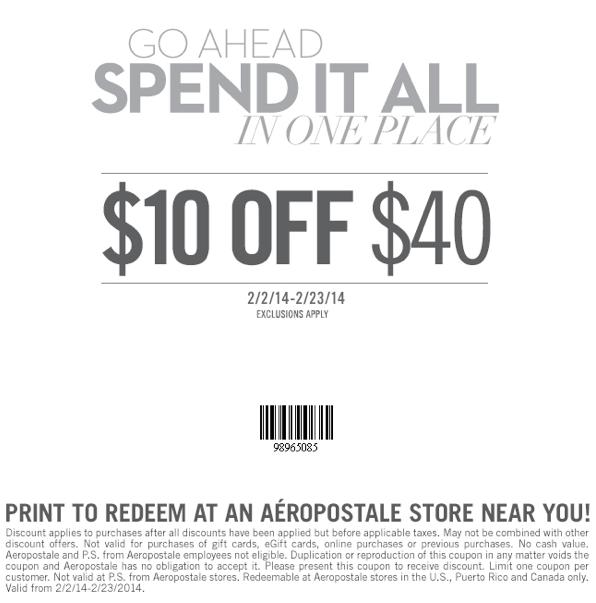 $10 off $40 (Printable)