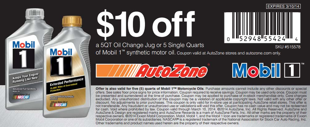$10 off 5QT Oil Change Jug or 5 Single Quarts of Mobil 1 Synthetic Motor Oil (Printable)