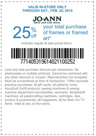 25% off Frames & Framed Art (Printable)