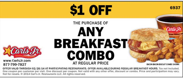$1 off Any Regularly-Priced Breakfast Combo (Printable)