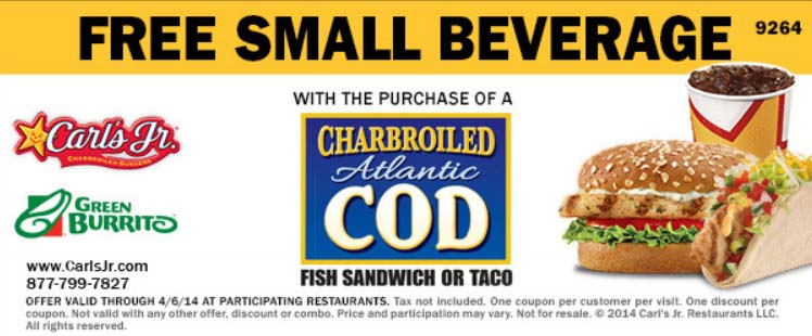 Free Small Beverage with Charbroiled Atlantic Cod Sandwich or Taco Purchase (Printable)