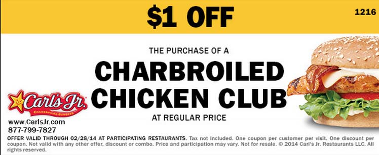 $1 off Charbroiled Chicken Club (Printable)