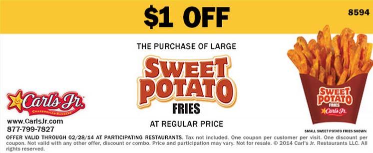 $1 off Large Sweet Potato Fries (Printable)