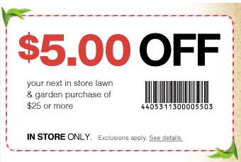 $5 off $25 in Lawn and Garden (Printable)