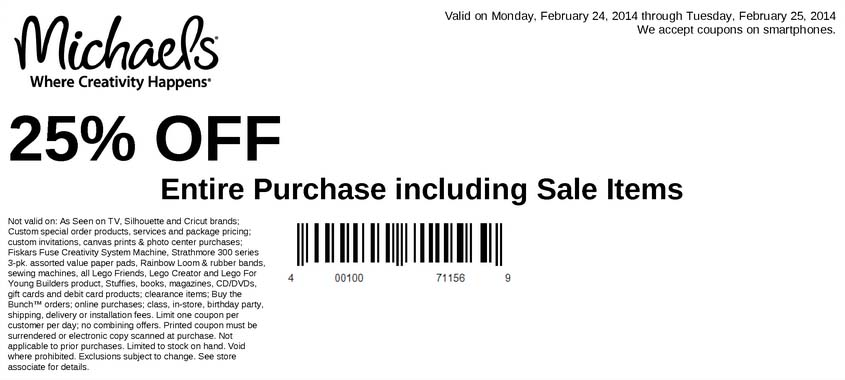 25% off Entire Purchase (Printable)