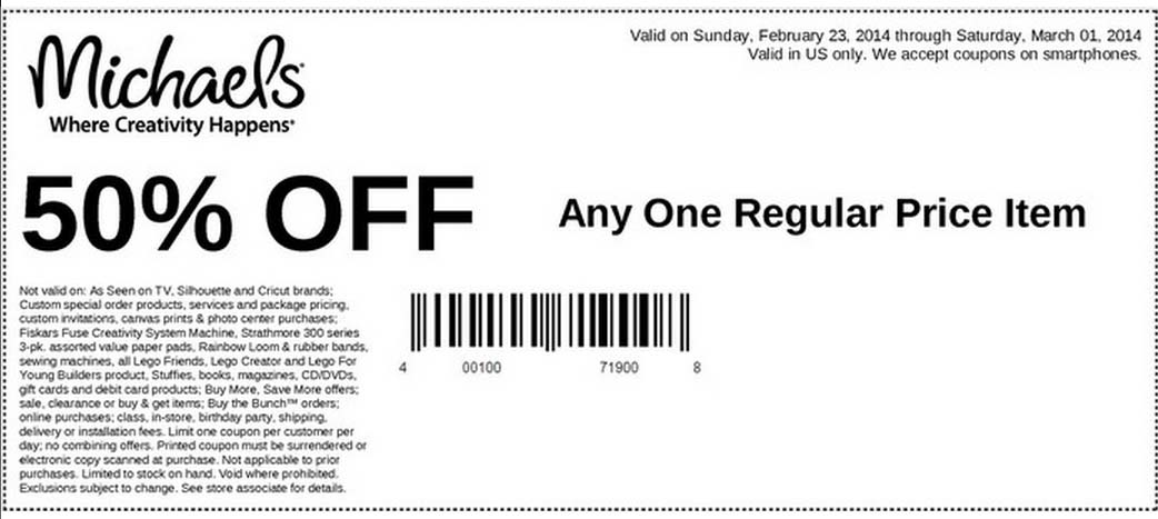 50% off Any One Regular Price Item (Printable)