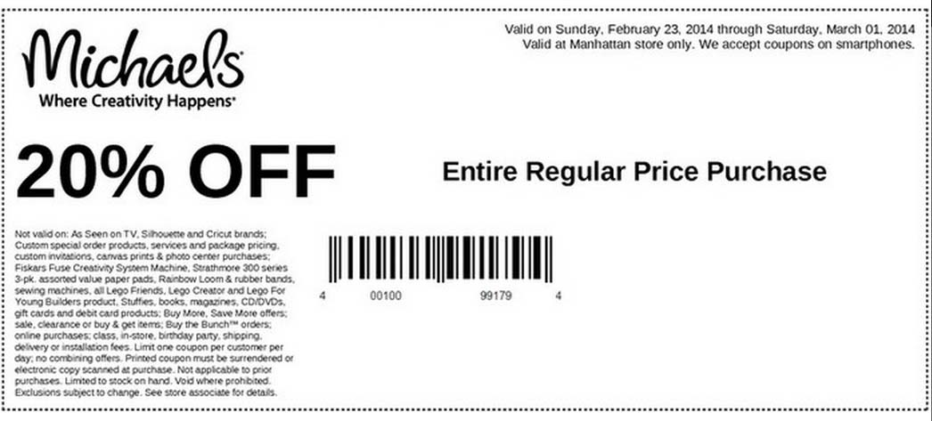 20% off Entire Regular Price Purchase at Manhattan Store Only (Printable)