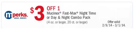 $3 off 1 Mucinex Fast-Max Night Time or Day + Night Combo Pack (Printable)