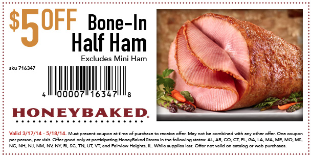 $5 off Bone-In Half Ham (Printable)