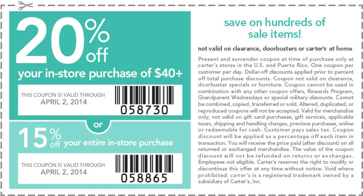 15-20% Off In-Store (Printable)