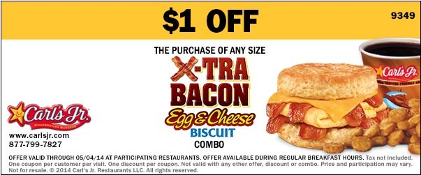 $1 off Any Size X-Tra Bacon Egg + Cheese Biscuit Combo (Printable)