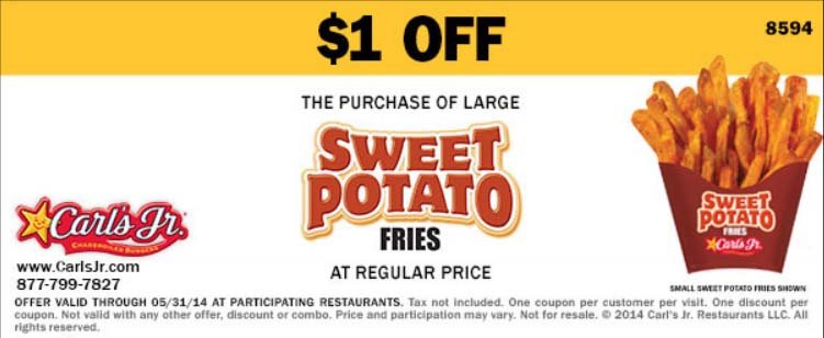 $1 off Large Sweet Potato Fries (Printable)