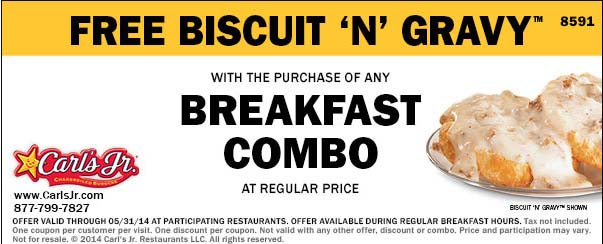 Free Biscuit 'N' Gravy with the Purchase of a Breakfast Combo (Printable)