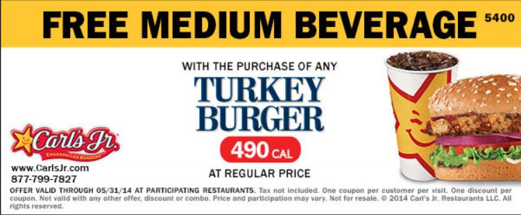 Free Medium Beverage with the Purchase of a Turkey Burger at Regular Price (Printable)
