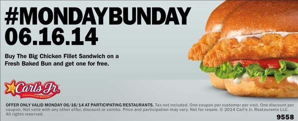 #MONDAYBUNDAY: BOGO Free Chicken Fillet Sandwich (Printable)
